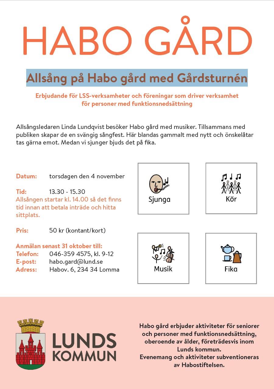 Allsång på Habo gård med Gårdsturnén